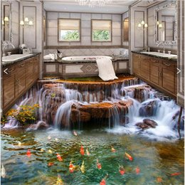 3d обои для рабочего стола онлайн-Wholesale- Custom Floor 3D Wallpaper river water carp Bathroom Floor Mural-3d PVC Wallpaper Self-adhesive wall Floor painting wall stickers
