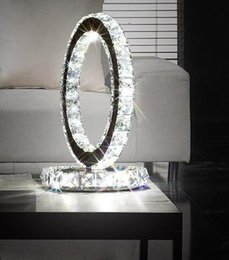 Wholesale Touch Lamps For Bedside Table - Modern led lighting bedside cabinet crystal ring table light stainless steel crystal LED desk lamp for study office bedroom