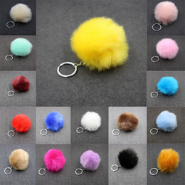Wholesale Spike Gold Rings - Womens Pom Pom Car Keychain Handbag Key Ring Wallet Backpack Key Ring Faux Rabbit Fur 24 Styles 24 Color 8cm C95Q