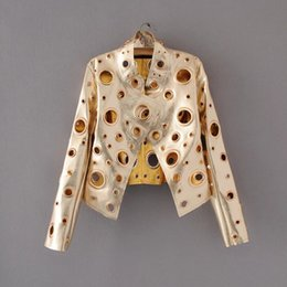 Wholesale Leather Jacket Sexy - Women Sexy Leather Jackets Motorcycle Bikers Faux PU Leather Jackets Spring Coats Stand Collar Long Sleeve Gold Color Sliver New Fashion