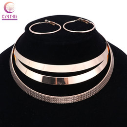Wholesale Statement Necklace Metal Bib - Trendy Arc Hollow Metal Big Torque Neck Bib Choker Necklaces Women Indian Jewelry Collar Maxi Statement Necklace