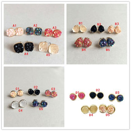 Wholesale Earings Round - 4 Styles Waterdrop Round square Resin Drusy Druzy Stud Earrings Fashion Quartz Stone Earings Gold Color Cute Brand Jewelry for Women