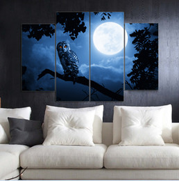 Wholesale Picture Full Moon - Owl under the full moon Frameless Paintings