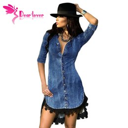 Wholesale Elegant Denim Dresses - Dear-Lover Elegant Womens Jeans Street Style Lace Trim Button Down Half Sleeve Denim Shirt Dress vestidos vetement femme LC22439
