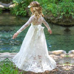 Wholesale Straight Wedding Dress Short Sleeves - 2017 wedding dresses baby kids clothing spring summer cute toddler dress Fashion Lace Long sleeve Girls cute toddler holiday party dress