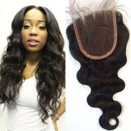 Wholesale Part Black - Mongolian Body Wave Human Hair Lace Closure With Baby Hair Natural Black 8-22inch No Shedding G-EASY