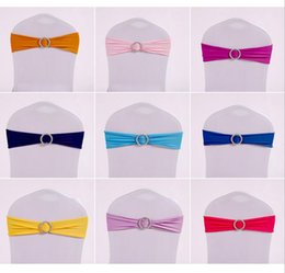 Wholesale Tie Bow Sash Belt - Chair Covers Sashes Band Elastic Covering Free Coverings Bow Bowknot Round Buckle Fashion Tie Bands Belt