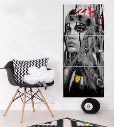 Amérindienne Fille Frameless Peintures 3 pcs (No Frame) Mur Art HD Imprimer Peinture Image ? partir de fabricateur