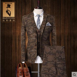 Wholesale Men S Dinner Jackets - Fashion Camouflage Tuxedo Dinner Jacket For Men Suit Wedding Groom 2016 Slim Fit 3 Piece Formal Dress (Jacket+Vest+Pants)