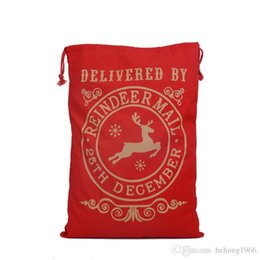 Wholesale Outdoor Reindeer Decorations - Gifts Sack Large Capacity Canvas Santa Bag With Reindeers Christmas Gift Toy Sundries Storage Bag Practical Beam Pocket 11 8by R