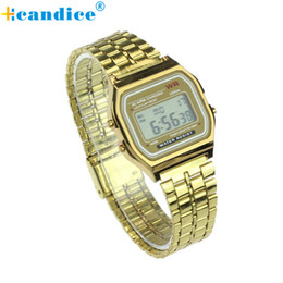 Wholesale Vintage Man Wrist Watches - Wholesale- Top Quality Hot Sale Vintage Womens Men Stainless Steel Square LED Digital Alarm Stopwatch Wrist Watch relogio masculino