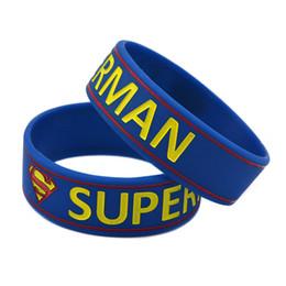 "Wholesale Superman Bracelets - Wholesale Shipping 50PCS Lot 3 4"" Wide Band Superman Silicon Wristband Bracelet Promotion Gift Adult Size"