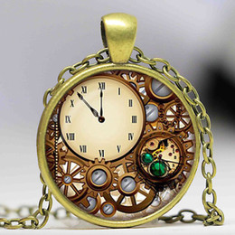 Wholesale Dome Clocks - Steampunk clock glass dome pendant necklaces charms personality mechanical watches Pendant Choker Jewelry just painting,not a real Watch