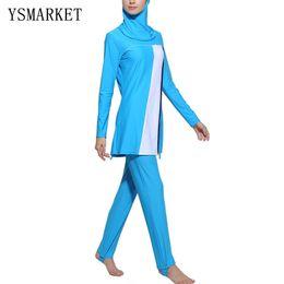 Wholesale Muslim Swimming - Blue Black Islamic Swimwear Suits Line Print Swimsuit Muslim Full Cover Hijab Swim Dress Plus Size Beachwear Bathing Suits 2XL 3XL 4XL