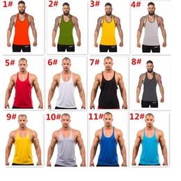 Wholesale Gold Vest Men - 12 colors Cotton Stringer Bodybuilding Equipment Fitness Gym Tank Top shirt Solid Singlet Y Back Sport clothes Vest 10pcs