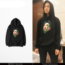 Wholesale Chinese Red Gold Clothes - 20 styles Hoodies Asian size!! Chinese HIP HOP sweatshirt F W 2017 new hot fleece warm clothing rap fashion Pullovers