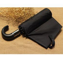 Wholesale Black Rain Umbrella Man - Leather Handle 10 Rib Strong Automatic Umbrellas Wind Resistant Men Black Three Folding Umbrella Rain Windproof