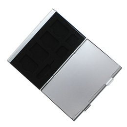Caixa de armazenamento de pinos on-line-Atacado- mais novo 15 em 1 de liga de alumínio Memória SIM Micro-Sim Card Pin Storage Case Box Protector para cartão SD 8x Micro SIM Card