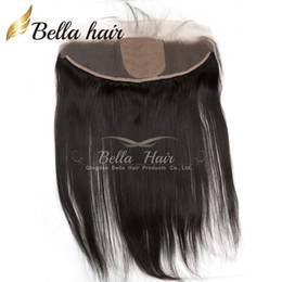 Wholesale Silk Base Hair Closures - 8-22inch Silk Base Lace Frontal Closure 13*4 Brazilian Straight Hair Pieces Human Hair Extensions Bella Hair Free Shipping