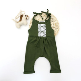 Wholesale Baby Boys One Piece - 0-24M Infant Toddlers Baby Boy Girl Summer Clothes One-piece Pants Lace Green Romper Jumpsuit Shoulder Straps Bodysuit