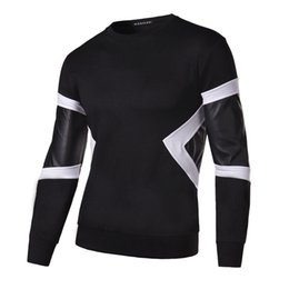 Wholesale Leather Sleeve Sweatshirt Mens - Wholesale-2016 New Spring Autumn Fashion Men Hoodies Leather Patchwork Slim Long Sleeve Casual Sweatshirt Mens Tops Black Gray