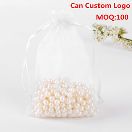 Wholesale Food Recycling Bags - Wholesale-17x23cm 100pcs lot White Drawable Organza Jewelry Bags Embalagens Para Doces Casamento Promotiont Bags Organza Sachet