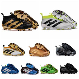 Wholesale Blackout Soccer Cleats - 2017 gold soccer shoes original ace 16 soccer cleats no laces boots football boots ace purecontrol messi cleats New Blackout 2016 ace Cleats