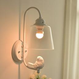 Wholesale Bird Lamps - Modern White Wall Lamp Clear Glass Lampshade Sconce Bedroom Stair Loft Light Resin Bird Home Decor Lighting E27 110-240V LLFA