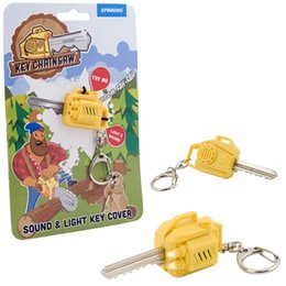 herramientas de hilado Rebajas Spinning Hat Key Chain Tool con LED Light Keychain Leñadores Chainsaw Key Cover con sierra eléctrica Sound Noisy LED Torch Fun Llavero