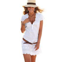 Wholesale Floor Length White Sundresses - Wholesale- 2017 Summer Fashion Women White Lace Dress Short Sleeve Sexy V Neck Casual Slim Party Short Mini Dresses Beach Sundress Vestidos