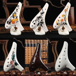 Wholesale Alto Neck Strap - Wholesale-12 Hole Ocarina Ceramic Alto AC Flute Musical Instrument With Neck-Strap Inspired Of Time Legend Mini Cute Ceramic Clay Gift