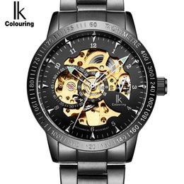 Wholesale Mechanical Ik - Wholesale- IK Golden black Luxury Watch Mens Automatic Skeleton Mechanical Wristwatches Fashion Casual Stainless Steel Relogio Masculino