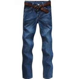 Wholesale Teenagers Jeans - Wholesale-Brand New Fashion Style Men Thick Jeans Winter Straight Slim Zipper Fly Male Pants Large Size Teenager Wear Good Quality Cozy