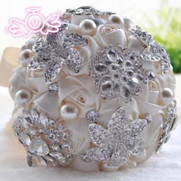 Wholesale Water Lily Silk Flowers - Rose Crystal Rhinestone Bridal Bouquet authentic original new D332 water droplets bead flower bouquets for weddings