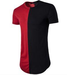 Wholesale Top Men Briefs - Contrast Color T shirt Of Man Short Sleeve O Neck Round Hem Brief Slim Fit Men Long Tee Shirts Tops Tees Free Ship