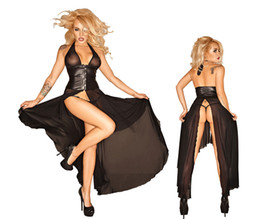 Wholesale Leather Underwear Ladies - Hot Sexy Women Lingerie Sexy lingerie Set Lady Sexy Underwear Lace Black clubwear party long Dress G-string 92015 S-L