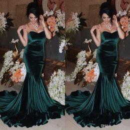 Wholesale Teal Sweetheart Mermaid Dress - 2017 Dark Teal Mermaid Sexy Prom Dresses Sweetheart Velvet Sweep Train Long Formal Evening Gowns Dress 99