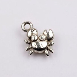 Wholesale Silver Crab Charm - Hot ! 200pcs Antiqued Silver zinc Alloy Stereo Small Crab charm 10.5x15 mm DIY Jewelry