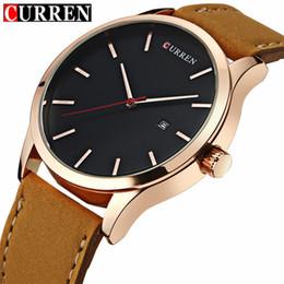 d2a2dec597d Curren marca de luxo de couro marrom analógico de quartzo mens relógios  casuais esporte masculino relógio de pulso com calendário homem relógio  8214 homens ...