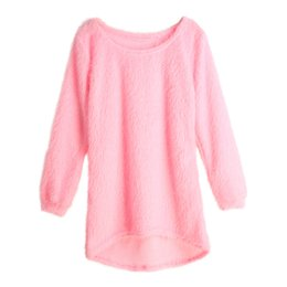 Wholesale Dip Hem - Wholesale- Autumn Winter Women Fluffy Knitted Sweater O-Neck Dip Hem Pull Femme Long Sleeve Ladies Loose Tricot Casual Warm Mohair Pullover