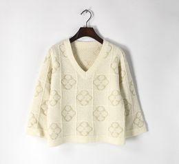 Wholesale Clover Sweater - Runway design fashion European 2017 luxuryGold thread Clover pattern lattice sweater V collar thick blouse knitwear women pullover