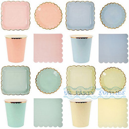 Wholesale Gold Shower Set - Wholesale- 160 Sets Solid Mint Pink Blue Yellow and Foil Gold Party Tableware Plates Cups Napkins Birthday Bridal Shower Engagement Party