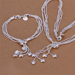 Wholesale Hang Love - 925 silver, Tai Chi hanging five hearts two sets of fashion heart shaped silver jewelry foreign trade suit S009