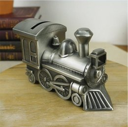 Wholesale Train Engine Kids - Retro Metal Train Shaped Coin Savings Bank Artwork Decoration Classic train engine design good quality free shipping