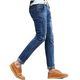 Jeans bleu en Ligne-Vente en gros - Mode Hommes Jeans déchirés déchiré hanche hanche vêtements pour hommes Crayons maigre coton bleu Biker Jeans Homme cassé évider trou Casual
