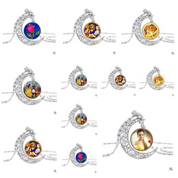 Wholesale Cheap Wholesale Art - 2017 Jewelry Silver Pendant Beauty and the Beast Necklace Moon Alloy Pendant Art Pendant For Necklace Gifts Jewelry Cheap Free Shipping