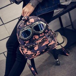 Wholesale Handsome Glasses - 2017 New European Fanny Fashion Military Style Camouflage Backpack Glasses Handsome Leopard Grain Rivet Student Backpack
