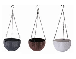 Wholesale basket chain - 2017 New style 22cm Plastic Resin hanging pots for flower growing, chain basket planter outdoor home decoration pots 3colors