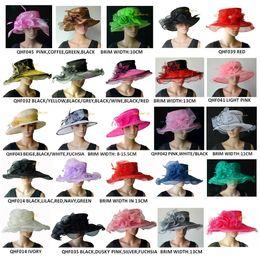 Kentucky casamento de derby on-line-Vestido de noiva nupcial de aba larga chapéu de organza chapéu de igreja sinamay fascinator para derby, preto, rosa, azul marinho, lilás, frete grátis por ems,