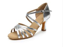 Wholesale Dance Shoe Girl - Dance shoes 288 Satin PU Popuplar High Quality Latin Dance Shoes for Women Ladies Girls Tango&Salsa 5.5cm  7cm Heel